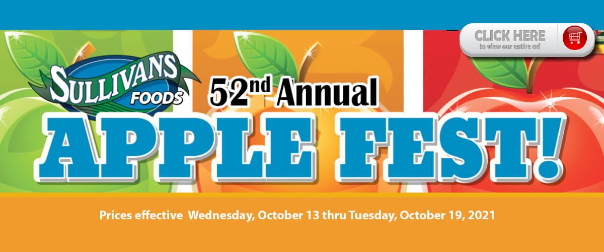 Sullivan's Foods Applefest Specials Oct 13-19, 2021