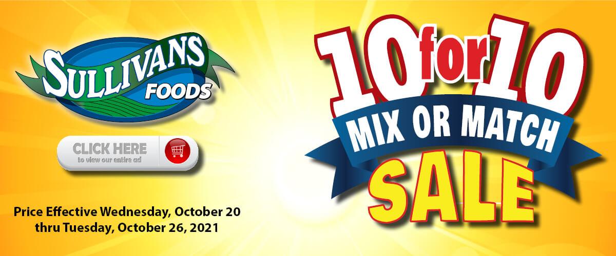 Sullivan's Foods 10 for $10 Sale Oct 20-26, 2021