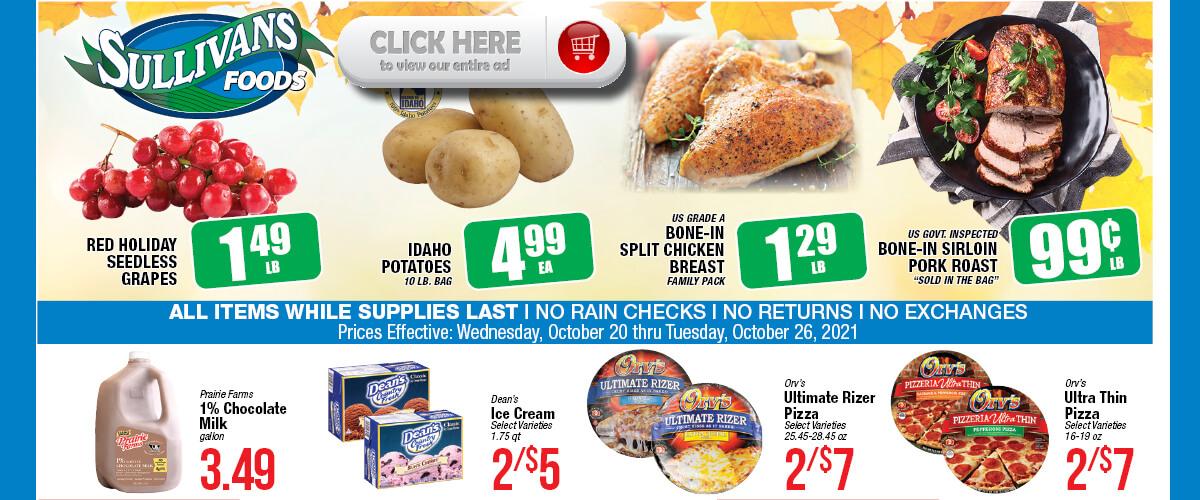 Sullivan's Foods weekly Sale Oct 20-26, 2021