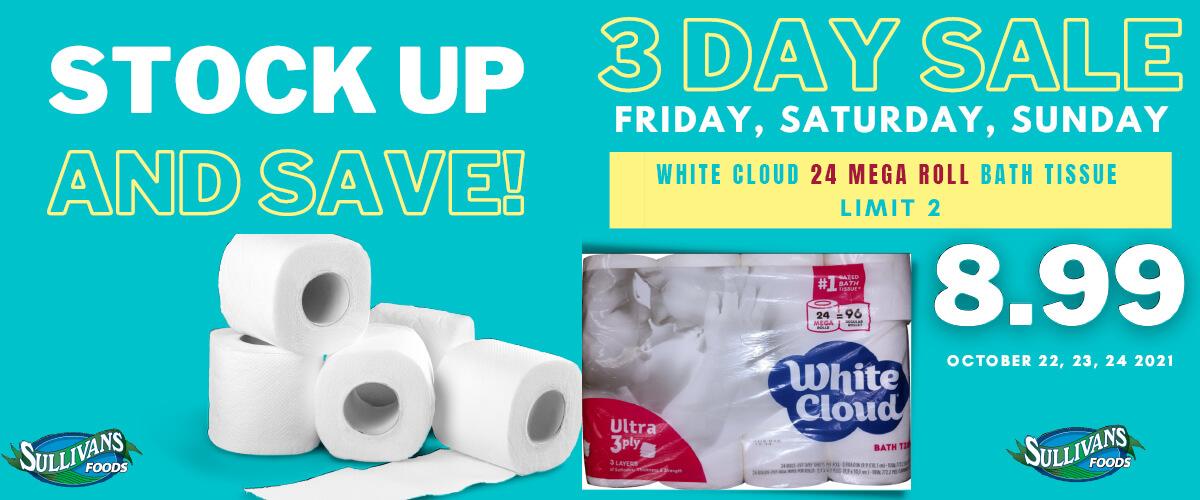 Toilet paper flash sale Oct 22-24, 2021